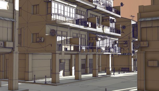 Commercial district construction kit side street_w by PixelMonger75