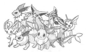 The Many Evolutions of Eevee by Ryu-noShikyo