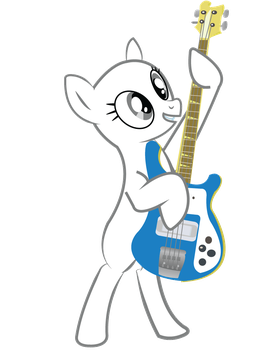 Pony Playing Bass Base (Earth) by alice-rose27k