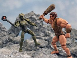 Caveman vs. Robot Lord 3D printed by hauke3000