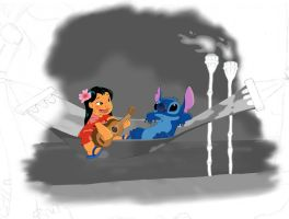 Lilo and Stitch - Color , black and white by Eingel91