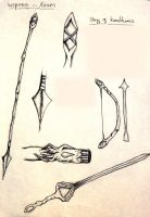 Weapon Idea sketches by Jesuka