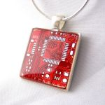Red Circuit Board Necklace by Techcycle