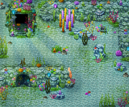Underwater temple tiles by PinkFireFly