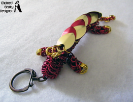 Red and Gold Dragon Keychain by ChainedBeauty