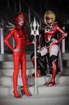 Red Lantern Supergirl and Mera: RAGE by Khainsaw
