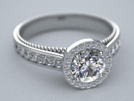 halo style milligran engagement ring by lupusk9