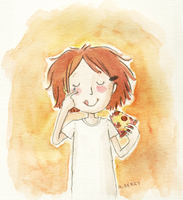 hana eating pizza by gurliebot