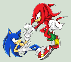 Sonic and Knuckles: Colored by Java-Mocha