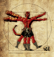 Coloring - Vitruvian Hellboy - Coloring V.1.2 by andreranulfo