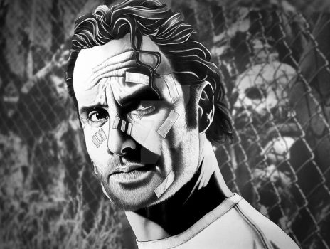 Rick Grimes with background by corysmithart