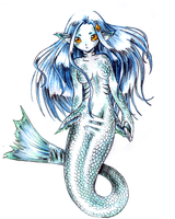 Mermaid with golden eyes by Qvi