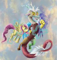 Fluttershy and Discord by SuperRobotRainbowPig