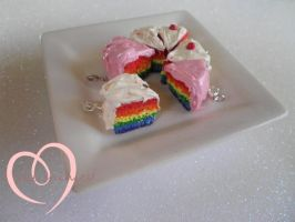 Rainbow cake charms by ilikeshiniesfakery