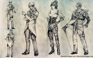 Steampunk Character Lineup by FeralTalent
