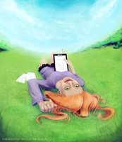 Red-haired girl on green grass by drowsyghost