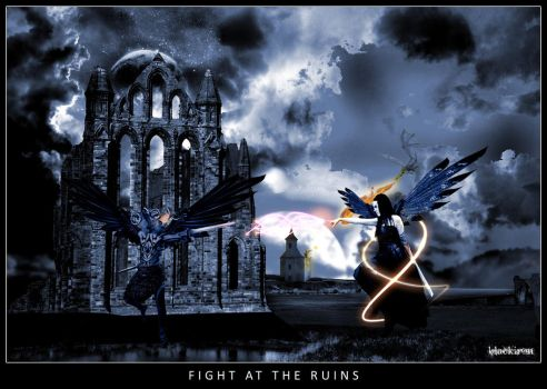 Fight at the Ruins by blackiron