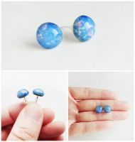 Blue Opal Glass Cabochon Silver Stud Earrings by crystaland