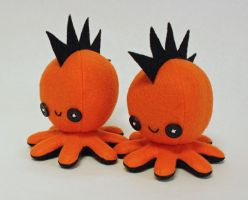 Orange mohawk octopus plush by jaynedanger
