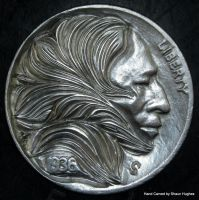 LEAVES Hand carved coin by Shaun Hughes by shaun750