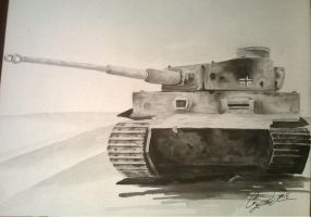 Tiger I in watercolor by toucanman16