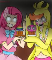[MLP x FNAF] Parties and Cupcakes...? by nichandesu