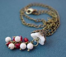 Snow White, Rose Red Necklace by sojourncuriosities