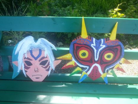 Wooden fierce deity and majoras mask(front) by thegogomaster99