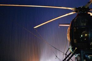 Hughes 500 Helicopter in the snow by Whosle