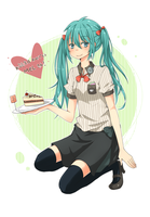 Miku the Waitress by strawberry-queen1