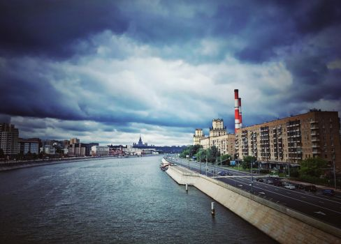 Moscow River architectural cityscape by ubinko