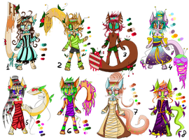 Really big bunch of anthro adopts. by DrTrousers