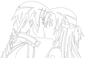 Kirito and Asuna Outline by famishou