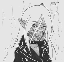 Drow with gasmask by Shabazik