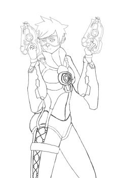 Overwatch: Tracer lineart by Shmaurie