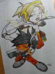 Overwatch Tracer and Mercy by kaicastle