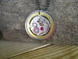 Steampunk Necklace Watch Movement with Grandfather by bcainspirations