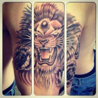 Neotraditional lion by domnecktattoo