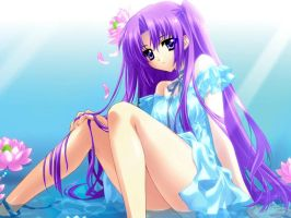 Anime Girl In Water w/Flowers by CrazyGurl111