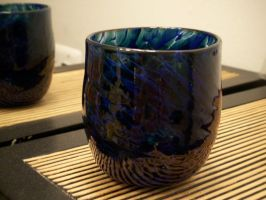 Blue and Aqua Green cup by KimsButterflyGarden