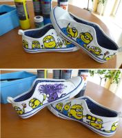 Despicable Me self-painted shoes by NoreyDragon