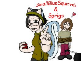 SmallBlueSquirrel and Sprig by leeche88
