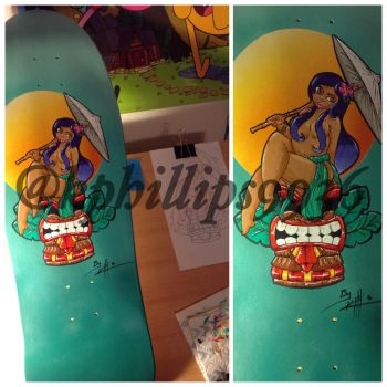 Tiki pinup skateboard project by KPhillips702