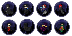 Batfamily Buttons by sirenlovesyou