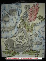 Skulls, Rose, and Dagger by LunaticPandoraXD