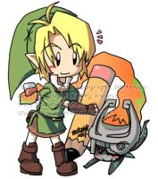 Chibi Link and Midna by BettyKwong
