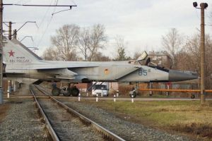 MiG-31 on a rail crossing by nikitakartinginboxru