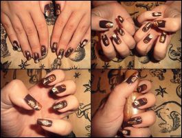Steampunk nail art by Niquesse
