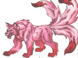 Wolf Demon of Fire by PinkScooby54