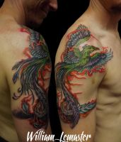 Phoenix on arm and chest - Tattooed by Bill by SmilinPirateTattoo